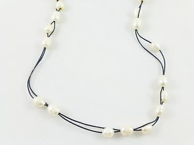 White Cultured Pearl Brown Cord  Beaded Necklace 44""