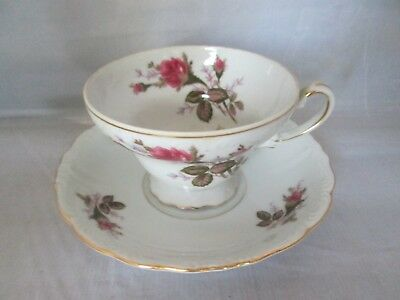 Beautiful Made in Japan Footed Tea Cup and Saucer Rose pattern VINTAGE