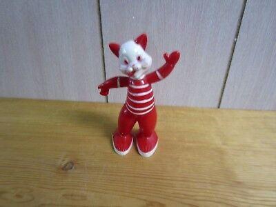 Vintage Rosbro/Rosen 1950's red hard plastic cat candy container