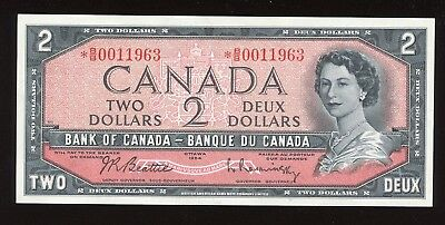 Bank of Canada $2, 1954 - Replacement Note S/N: *B/B0011963