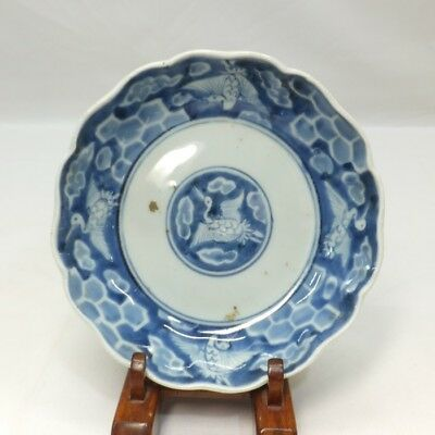 B663: Japanese plate of old IMARI blue-and-white porcelain with crane painting.