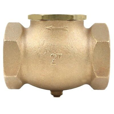 """2"""" In Line Horizontal Check Valve Compressed Air Compressor WOG Solid Cast Brass"""