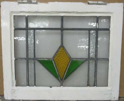 """OLD ENGLISH LEADED STAINED GLASS WINDOW Nice Geometric Design 20.5"""" x 17"""""""