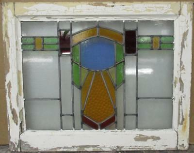 "MID SIZED OLD ENGLISH LEADED STAINED GLASS WINDOW Awesome Geometric 22.25"" x 18"""