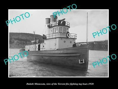 OLD LARGE HISTORIC PHOTO OF DULUTH MINNESOTA, THE FIRE TUGBOAT TORRENT c1920