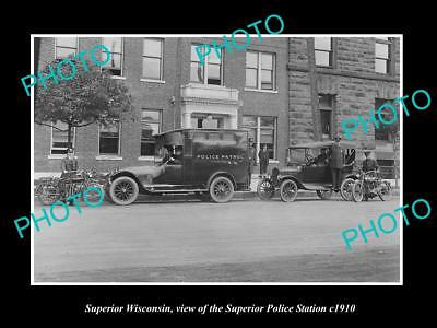 OLD LARGE HISTORIC PHOTO OF SUPERIOR WISCONSIN, VIEW OF THE POLICE STATION c1910