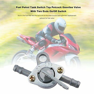 Motorcycle Motorbike Petrol Fuel Tap Tank Valve In-line On-Off Switch Durable Q2