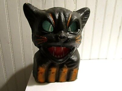 Vintage USA 1940's Halloween paper mache/pulp black cat on fence lantern