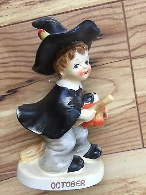 Vintage Lefton October Halloween Boy Witch Figurine Pumpkin 2300