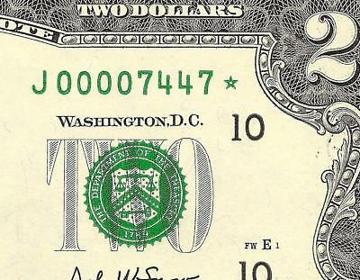 Unc 2003 $2 Two Dollar Low Print 7447 Star Radar Note Currency Paper Money 7447