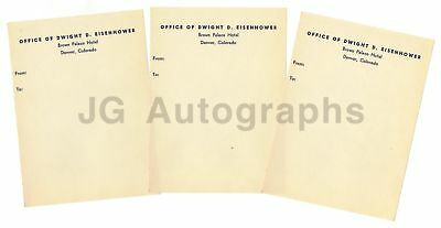 Dwight Eisenhower Original Vintage Stationary 3 Sheets, Denver, CO Circa 1970s