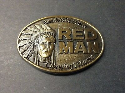Vintage Red Man Belt Buckle American Best Chewing Tobacco 1988 Advertisement
