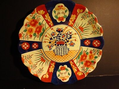 Antique large hand painted Imari charger bowl signed 19th C