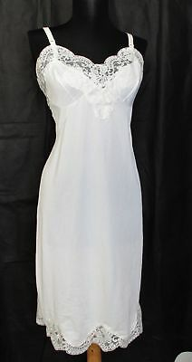 Vintage SEARS Non Cling Ivory FULL SLIP sz 38 Tall Lingerie GORGEOUS LACE