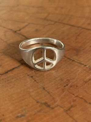 Cute Peace Sign Solid .925 Sterling Silver Ring Sizes 4-9