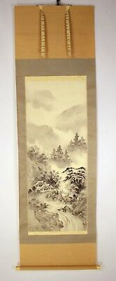 "Kakejiku Japanese Hanging / Landscape Painting in ""Sumi"" Ink by Reishun #412"