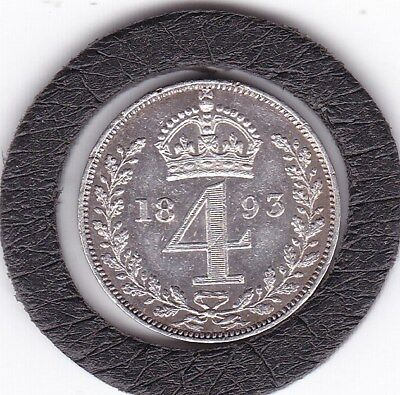 Super  1893   Queen  Victoria  Maundy  Four  Pence  (m4d)  Silver (92.5%) Coin