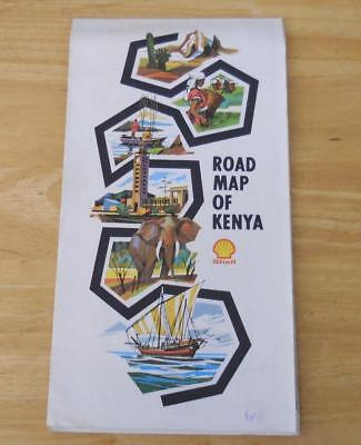 Kenya 1972 Shell Road Map  - Excellent condition!