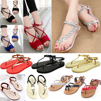 Womens Boho Flat Shoes Summer Beach Holiday Sandles Strappy Flip Flops Slippers