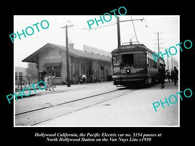 OLD LARGE HISTORIC PHOTO, NORTH HOLLYWOOD PACIFIC ELECTRIC RAILWAY STATION c1950