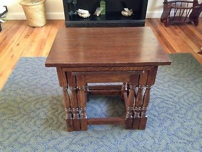 Jacobean style oak nested nesting tables excellent condition