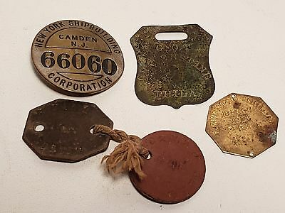 5 Old Meyal Tags-Pins-Etc-Ny Shipbuilding Camden Nj-Northwestern U-Gravenstine