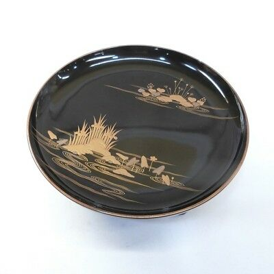 B743: Real old Japanese lacquer ware tall plate with leg with fine MAKIE.