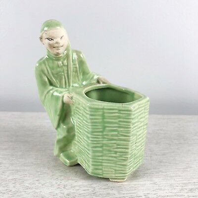 Mccoy Vintage Planter Green Glazed Asian Oriental Chinese Japanese Straw Basket
