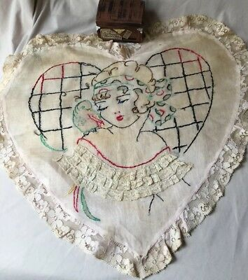 CIRCA 1920s EMBROIDERED Lace BOUDOIR PILLOW Case LADY & Bird PROFILE ❤️ Shaped