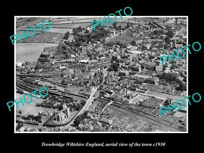 Old Large Historic Photo Of Trowbridge Wiltshire England Town Aerial View 1930 5