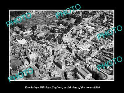 Old Large Historic Photo Of Trowbridge Wiltshire England Town Aerial View 1930 3