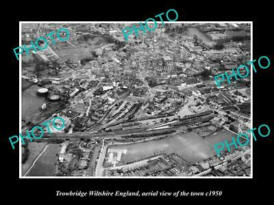 Old Large Historic Photo Of Trowbridge Wiltshire England Town Aerial View 1950 3