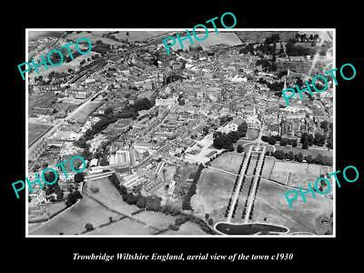 Old Large Historic Photo Of Trowbridge Wiltshire England Town Aerial View 1930 2