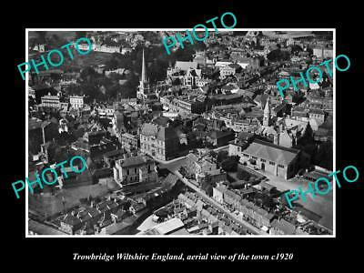 Old Large Historic Photo Of Trowbridge Wiltshire England Town Aerial View 1920 1