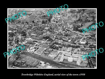 Old Large Historic Photo Of Trowbridge Wiltshire England Town Aerial View 1950 1