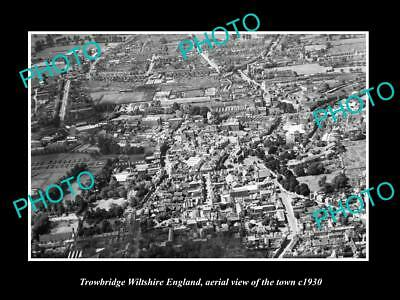 Old Large Historic Photo Of Trowbridge Wiltshire England Town Aerial View 1930 1