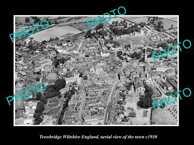 Old Large Historic Photo Of Trowbridge Wiltshire England Town Aerial View 1930 4
