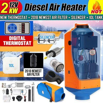 12V 2KW Diesel Air Parking Heater Air Heating Digital Thermostat with SilencerC@