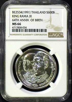Be2534(1991) Thailand Silver 600 Baht Ngc Ms66 64Th Anniv. Of King Rama Ix Birth