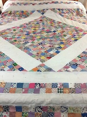 """Vibrant Vintage Handmade Feed Sack Unqiue Pattern Quilt Hand Tied  82"""" X 91"""""""