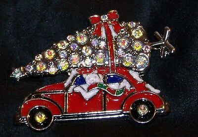Rhinestone Christmas Tree Cat Car Pin Brooch-Enamel Clear Stones-New