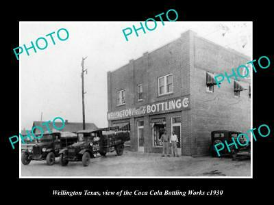 OLD LARGE HISTORIC PHOTO OF WELLINGTON TEXAS, THE COCA COLA BOTTLING WORKS c1930