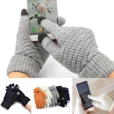 Winter Mens Warm Knitted Full Fingers Touch Screen Gloves for Smart Phone A9nv