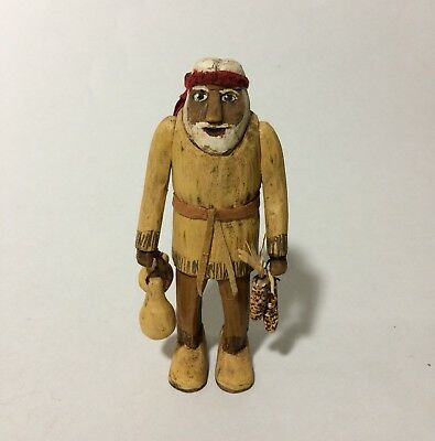 """5"""" Hand Carved Wood Santa in Buckskins Gourds Corn Statue Christmas"""