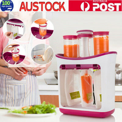 Baby Feeding Food Squeeze Station Infant Fruit Maker Dispenser Storage AW