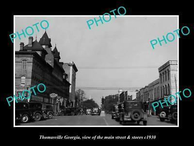 OLD LARGE HISTORIC PHOTO OF THOMASVILLE GEORGIA, THE MAIN STREET & STORES c1930