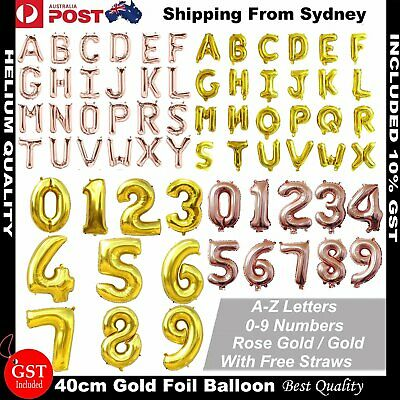 40cm Rose Gold Helium Foil Balloon Number Letters Gold Balloons Birthday Wedding