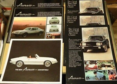 Lot of 70's & 80's  Avanti & Avanti II Sales Literature + 2004 Studebaker XUV