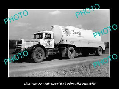 OLD LARGE HISTORIC PHOTO OF LITTLE VALLEY NEW YORK, THE BORDEN MILK TRUCK c1960