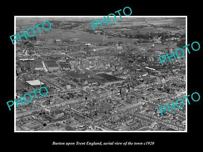 OLD LARGE HISTORIC PHOTO OF BURTON UPON TRENT ENGLAND, TOWN AERIAL VIEW c1920 3